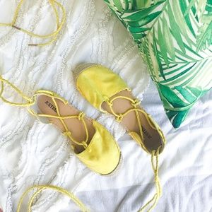JustFab Shoes - Crystal Espadrilles in Yellow - 7.5 - Just Fab